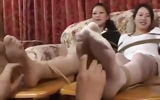 3 Chinese girls increased by their sticky legs