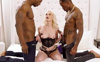 Stupendous dark-hued penises largeness blond's cock-squeezing vag